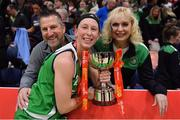 27 January 2019; Allie LeClaire of Courtyard Liffey Celtics celebrates with her parents Jake and Sandie Selissen, who flew in from Green Bay, Wisconsin, USA, and the cup after the Hula Hoops Women's Paudie O'Connor National Cup Final match between Courtyard Liffey Celtics and Singleton SuperValu Brunell at the National Basketball Arena in Tallaght, Dublin. Photo by Brendan Moran/Sportsfile