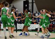 27 January 2019; Liffey Celtic players rush frrom the bench to celebrate with their team-mates after the game at the Hula Hoops Women's Paudie O'Connor National Cup Final match between Courtyard Liffey Celtics and Singleton SuperValu Brunell at the National Basketball Arena in Tallaght, Dublin. Photo by Eóin Noonan/Sportsfile
