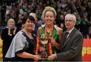 27 January 2019; Ailbhe O'Connor of Courtyard Liffey Celtics is presented with the cup by President of Basketball Ireland Theresa Walsh and John Treacy, Chief Executive Sport Ireland during the Hula Hoops Women's Paudie O'Connor National Cup Final match between Courtyard Liffey Celtics and Singleton SuperValu Brunell at the National Basketball Arena in Tallaght, Dublin. Photo by Eóin Noonan/Sportsfile