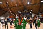 27 January 2019; Briana Green of Courtyard Liffey Celtics celebrates after the Hula Hoops Women's Paudie O'Connor National Cup Final match between Courtyard Liffey Celtics and Singleton SuperValu Brunell at the National Basketball Arena in Tallaght, Dublin. Photo by Eóin Noonan/Sportsfile