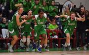 27 January 2019; Courtyard Liffey Celtics players, from left, Ailbhe O'Connor, Allie LeClaire, Briana Green and Sorcha Tiernan celebrate the final buzzer of the Hula Hoops Women's Paudie O'Connor National Cup Final match between Courtyard Liffey Celtics and Singleton SuperValu Brunell at the National Basketball Arena in Tallaght, Dublin. Photo by Brendan Moran/Sportsfile
