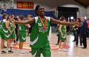 27 January 2019; Briana Green of Courtyard Liffey Celtics celebrates after the Hula Hoops Women's Paudie O'Connor National Cup Final match between Courtyard Liffey Celtics and Singleton SuperValu Brunell at the National Basketball Arena in Tallaght, Dublin. Photo by Brendan Moran/Sportsfile