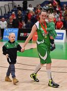27 January 2019; Anna Pupin Romanawska of Courtyard Liffey Celtics with her children Jan and Nela after the Hula Hoops Women's Paudie O'Connor National Cup Final match between Courtyard Liffey Celtics and Singleton SuperValu Brunell at the National Basketball Arena in Tallaght, Dublin. Photo by Brendan Moran/Sportsfile