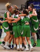 27 January 2019; Courtyard Liffey Celtics players celebrate at the final buzzer of the Hula Hoops Women's Paudie O'Connor National Cup Final match between Courtyard Liffey Celtics and Singleton SuperValu Brunell at the National Basketball Arena in Tallaght, Dublin. Photo by Brendan Moran/Sportsfile