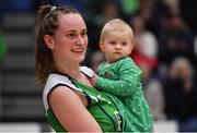 27 January 2019; Anna Pupin Romanawska of Courtyard Liffey Celtics with her daughter Nela after the Hula Hoops Women's Paudie O'Connor National Cup Final match between Courtyard Liffey Celtics and Singleton SuperValu Brunell at the National Basketball Arena in Tallaght, Dublin. Photo by Brendan Moran/Sportsfile
