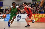 27 January 2019; Briana Green of Courtyard Liffey Celtics in action against Madelyn Ganser of Singleton SuperValu Brunell during the Hula Hoops Women's Paudie O'Connor National Cup Final match between Courtyard Liffey Celtics and Singleton SuperValu Brunell at the National Basketball Arena in Tallaght, Dublin. Photo by Brendan Moran/Sportsfile