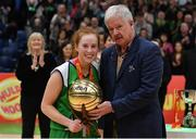 27 January 2019; Sorcha Tiernan of Courtyard Liffey Celtics is presented wit the MVP award by Seamus O'Connor, brother of the late Paudie O'Connor after the Hula Hoops Women's Paudie O'Connor National Cup Final match between Courtyard Liffey Celtics and Singleton SuperValu Brunell at the National Basketball Arena in Tallaght, Dublin. Photo by Eóin Noonan/Sportsfile