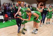 27 January 2019; Ailbhe O'Connor of Courtyard Liffey Celtics celebrates with team-mate Anna Pupin Romanawska and her children Jan and Nela after the Hula Hoops Women's Paudie O'Connor National Cup Final match between Courtyard Liffey Celtics and Singleton SuperValu Brunell at the National Basketball Arena in Tallaght, Dublin. Photo by Brendan Moran/Sportsfile