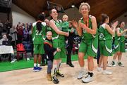 27 January 2019; Ailbhe O'Connor of Courtyard Liffey Celtics, right, celebrates with team-mate Anna Pupin Romanawska and her children Jan and Nela after the Hula Hoops Women's Paudie O'Connor National Cup Final match between Courtyard Liffey Celtics and Singleton SuperValu Brunell at the National Basketball Arena in Tallaght, Dublin. Photo by Brendan Moran/Sportsfile