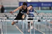 27 January 2019; Shane Monagle of Tramore AC, Co. Waterford, on his way to winning the Junior Men 60m H event during the Irish Life Health Junior and U23 Indoors at AIT International Arena in Athlone, Co. Westmeath. Photo by Sam Barnes/Sportsfile