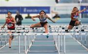 27 January 2019; Kate Doherty of Dundrum South Dublin AC, Co. Dublin, centre, on her way to winning the U23 Women 60m hurdles event, ahead of, Sarah Quinn of St. Colmans South Mayo AC, Co. Mayo, during the Irish Life Health Junior and U23 Indoors at AIT International Arena in Athlone, Co. Westmeath. Photo by Sam Barnes/Sportsfile