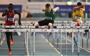 27 January 2019; Shane Mooney of Tireragh AC, Co. Sligo, centre, on his way to winning the U23 Men 60m hurdles event during the Irish Life Health Junior and U23 Indoors at AIT International Arena in Athlone, Co. Westmeath. Photo by Sam Barnes/Sportsfile