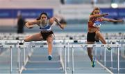 27 January 2019; Kate Doherty of Dundrum South Dublin AC, Co. Dublin, left, on her way to winning the U23 Women 60m hurdles event, ahead of, Sarah Quinn of St. Colmans South Mayo AC, Co. Mayo, during the Irish Life Health Junior and U23 Indoors at AIT International Arena in Athlone, Co. Westmeath. Photo by Sam Barnes/Sportsfile
