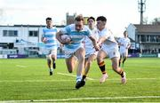 28 January 2019; Niall Comerford of Blackrock College scores his side's first try despite the attempted tackle from Josh Pyper of Presentation College Bray during the Bank of Ireland Leinster Schools Senior Cup Round 1 match between Presentation College Bray and Blackrock College at Energia Park in Dublin. Photo by David Fitzgerald/Sportsfile