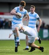 28 January 2019; Sean O'Brien of Blackrock College is tackled by Sam Graham of Presentation College Bray during the Bank of Ireland Leinster Schools Senior Cup Round 1 match between Presentation College Bray and Blackrock College at Energia Park in Dublin. Photo by David Fitzgerald/Sportsfile