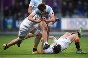 28 January 2019; Jack Loscher of Blackrock College is tackled by Jack Treacy, left, and Peter Ford of Presentation College Bray during the Bank of Ireland Leinster Schools Senior Cup Round 1 match between Presentation College Bray and Blackrock College at Energia Park in Dublin. Photo by David Fitzgerald/Sportsfile