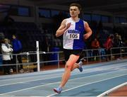 27 January 2019; James Dunne of Tullamore Harriers AC, Co. Offaly, on his way to winning the Junior Men 800m event during the Irish Life Health Junior and U23 Indoors at AIT International Arena in Athlone, Co. Westmeath. Photo by Sam Barnes/Sportsfile