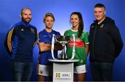 29 January 2019; In attendance at the launch of the 2019 Lidl Ladies National Football Leagues at Croke Park, Dublin, are, from left, manager Shane Royane and Samantha Lambert of Tipperary and Niamh Kelly of Mayo and manager Peter Leahy. In their fourth year of partnership with the Ladies Gaelic Football Association, Lidl Ireland are proud to announce various new initiatives and programmes to ensure even more participants at every level of the game reap the benefits of the sponsorship during 2019. The first new initiative, which is live as of today, will see Lidl Ireland invest €250,000 in a nationwide schools campaign where 159 post primary schools across the country will receive jerseys and equipment for their teams. Selected schools will then go on to take part in a brand new #SeriousSupport programme delivered by LGFA county level players which aims to show girls the benefits of playing sport both on and off the pitch. To nominate your local LGFA post primary school, simply log on to www.lidl.ie/jerseys today and enter the 10-digit unique code found at the end of your till receipt. Throughout the year Lidl Ireland will continue to run and introduce various new initiatives for the benefit of clubs and schools throughout the country. Photo by Brendan Moran/Sportsfile