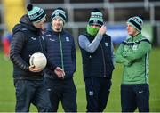 27 January 2019; Fermanagh management team, from left, selector Ronan Gallagher, manager Rory Gallagher, assistant manager Ryan McMenamin and selector Shane McCabe before the Allianz Football League Division 2 Round 1 match between Fermanagh and Cork at Brewster Park in Enniskillen, Fermanagh. Photo by Oliver McVeigh/Sportsfile
