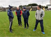 27 January 2019; From left, Kieran Collins, Cork manager Ronan McCarthy, Cork selector Sean Hayes and Jason Ryan before the Allianz Football League Division 2 Round 1 match between Fermanagh and Cork at Brewster Park in Enniskillen, Fermanagh. Photo by Oliver McVeigh/Sportsfile