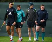 29 January 2019; Ireland players, from left, Adam Byrne, Jordan Larmour, Jonathan Sexton and Tadhg Furlong during squad Training at Carton House in Maynooth, Co Kildare. Photo by David Fitzgerald/Sportsfile
