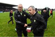 27 January 2019; Kerry manager Peter Keane and selector Donie Buckley following the Allianz Football League Division 1 Round 1 match between Kerry and Tyrone at Fitzgerald Stadium in Killarney, Kerry. Photo by Stephen McCarthy/Sportsfile