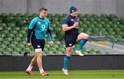 31 January 2019; Josh van der Flier, left, and Tadhg Furlong during Ireland rugby squad training at Aviva Stadium, Dublin. Photo by Brendan Moran/Sportsfile
