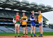 31 January 2019; Ahead of the AIB GAA All-Ireland Junior and Intermediate Football Club Championship Finals which take place at Croke Park on Saturday, February 9th, are from left, from left, Sean O'Leary of Kilcummin, Peter Healy of Naomh Éanna, Noel McGuirem of Easkey and Nathan Breen of Beaufort. For exclusive content and behind the scenes action throughout the AIB GAA & Camogie Club Championships follow AIB GAA on Facebook, Twitter, Instagram and Snapchat.   Photo by Sam Barnes/Sportsfile