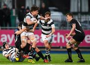 31 January 2019; Aleksely Soroka of Belvedere College is tackled by Ronan Loughnane of Cistercian College Roscrea during the Bank of Ireland Leinster Schools Senior Cup Round 1 match between Belvedere College and Cistercian College Roscrea at Energia Park in Dublin. Photo by Eóin Noonan/Sportsfile