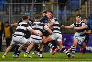 31 January 2019; John MccKeon of Cistercian College Roscrea is tackled by Jed Jones, left, and Conor Kelly of Belvedere College during the Bank of Ireland Leinster Schools Senior Cup Round 1 match between Belvedere College and Cistercian College Roscrea at Energia Park in Dublin. Photo by Eóin Noonan/Sportsfile