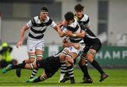 31 January 2019; Aaron Coleman of Belvedere College is tackled by Gavin Meagher, left, and Lucas Culliton of Cistercian College Roscrea during the Bank of Ireland Leinster Schools Senior Cup Round 1 match between Belvedere College and Cistercian College Roscrea at Energia Park in Dublin. Photo by Eóin Noonan/Sportsfile