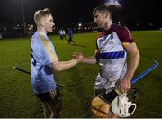 31 January 2019; Michael Carey of UL, right, shakes hands with his brother Sean Carey of UCD following the Electric Ireland Fitzgibbon Cup Group A Round 3 match between University College Dublin and University of Limerick at Billings Park in Belfield, Dublin. Photo by Stephen McCarthy/Sportsfile