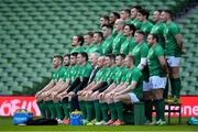 1 February 2019; The Ireland team pose for an official photograph prior to their captain's run at the Aviva Stadium in Dublin, front row, from left, Sean O'Brien, Robbie Henshaw, Conor Murray, Jonathan Sexton, IRFU President Ian McIlrath, captain Rory Best, Peter O'Mahony, Cian Healy, Keith Earls, with middle row, Andrew Porter, Josh van der Flier, CJ Stander, James Ryan, Devin Toner, Quinn Roux, Tadhg Furlong, and Sean Cronin and back row, Jordan Larmour, Bundee Aki, Garry Ringrose, Jacob Stockdale, Joey Carbery, Dave Kilcoyne, John Cooney. Photo by Brendan Moran/Sportsfile