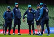 1 February 2019; Head coach Joe Schmidt, second from right, with members of his coaching staff, from left, Richie Murphy, Simon Easterby, Greg Feek and Andy Farrell during the Ireland Rugby captain's run at the Aviva Stadium in Dublin. Photo by Brendan Moran/Sportsfile