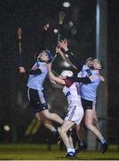 31 January 2019; Paul Crummey, left, and Stephen Quirke of UCD in action against Jordan Henley and Aidan McGuane of UL during the Electric Ireland Fitzgibbon Cup Group A Round 3 match between University College Dublin and University of Limerick at Billings Park in Belfield, Dublin. Photo by Stephen McCarthy/Sportsfile