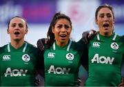 1 February 2019; Ireland players, from left, Michelle Claffey, Sene Naoupu and Eimear Considine during the national anthems prior to the Women's Six Nations Rugby Championship match between Ireland and England at Energia Park in Donnybrook, Dublin. Photo by Ramsey Cardy/Sportsfile