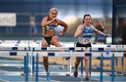 2 February 2019; Sarah Lavin of U.C.D. AC, Co. Dublin, left, on her way to winning the Senior Women 60m Hurdles event, ahead of Sive O'Toole of St. L. O'Toole AC, Co. Carlow, during the AAI Indoor Games at the National Indoor Arena in Abbotstown, Dublin. Photo by Sam Barnes/Sportsfile