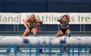 2 February 2019; Sarah Lavin of U.C.D. AC, Co. Dublin, left, and Kate Doherty of Dundrum South Dublin AC, Co. Dublin, competing in the Senior Women 60m Hurdles event during the AAI Indoor Games at the National Indoor Arena in Abbotstown, Dublin. Photo by Sam Barnes/Sportsfile