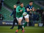 2 February 2019; Jordan Larmour of Ireland warms up prior to the Guinness Six Nations Rugby Championship match between Ireland and England in the Aviva Stadium in Dublin. Photo by David Fitzgerald/Sportsfile