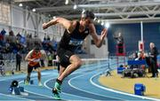 2 February 2019; Thomas Barr of Ferrybank AC, Co. Waterford, on his way to winning the 400m Hurdles event during the AAI Indoor Games at the National Indoor Arena in Abbotstown, Dublin. Photo by Sam Barnes/Sportsfile