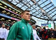 2 February 2019; Garry Ringrose of Ireland makes his way to the pitch prior to the Guinness Six Nations Rugby Championship match between Ireland and England in the Aviva Stadium in Dublin. Photo by David Fitzgerald/Sportsfile