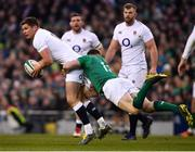 2 February 2019; Owen Farrell of England is tackled by Garry Ringrose of Ireland during the Guinness Six Nations Rugby Championship match between Ireland and England in the Aviva Stadium in Dublin. Photo by Ramsey Cardy/Sportsfile