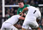 2 February 2019; Tadhg Furlong of Ireland is tackled by Kyle Sinckler, left, and Mako Vunipola of England during the Guinness Six Nations Rugby Championship match between Ireland and England in the Aviva Stadium in Dublin. Photo by Brendan Moran/Sportsfile