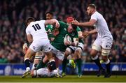 2 February 2019; Tadhg Furlong of Ireland is tackled by Owen Farrell of England during the Guinness Six Nations Rugby Championship match between Ireland and England in the Aviva Stadium in Dublin. Photo by Ramsey Cardy/Sportsfile