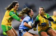 2 February 2019; Kate Sullivan of Dublin in action against Emer Gallagher, left, and Nicole McLaughlin of Donegal during the Lidl Ladies NFL Division 1 Round 1 match between Dublin and Donegal at Croke Park in Dublin. Photo by Piaras Ó Mídheach/Sportsfile