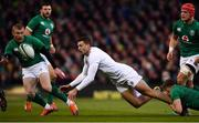 2 February 2019; Jonny May of England gets his pass away despite the efforts of Garry Ringrose of Ireland during the Guinness Six Nations Rugby Championship match between Ireland and England in the Aviva Stadium in Dublin. Photo by Ramsey Cardy/Sportsfile