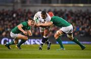 2 February 2019; Kyle Sinckler of England is tackled by Garry Ringrose, left, and Josh van der Flier of Ireland during the Guinness Six Nations Rugby Championship match between Ireland and England in the Aviva Stadium in Dublin. Photo by David Fitzgerald/Sportsfile