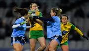 2 February 2019; Karen Guthrie of Donegal, supported by team-mate Ciara Grant in action against Niamh Collins, left, and Martha Byrne of Dublin during the Lidl Ladies NFL Division 1 Round 1 match between Dublin and Donegal at Croke Park in Dublin. Photo by Piaras Ó Mídheach/Sportsfile