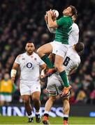 2 February 2019; Jordan Larmour of Ireland fields a high kick during the Guinness Six Nations Rugby Championship match between Ireland and England in the Aviva Stadium in Dublin. Photo by Brendan Moran/Sportsfile