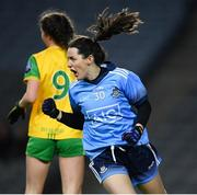 2 February 2019; Lyndsey Davey of Dublin celebrates after scoring her side's first goal during the Lidl Ladies NFL Division 1 Round 1 match between Dublin and Donegal at Croke Park in Dublin. Photo by Harry Murphy/Sportsfile